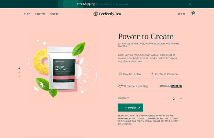 Perfectly Tea Power to create product page